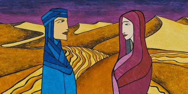 Hombre y mujer en el desierto